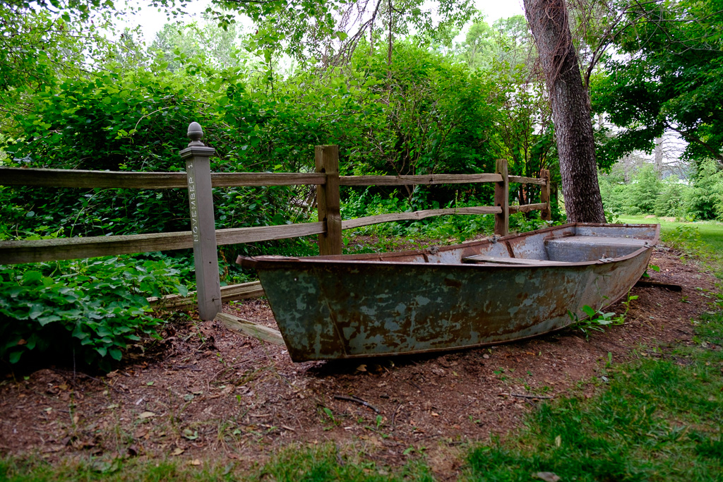 Photograph of an old row boat at the Gardens