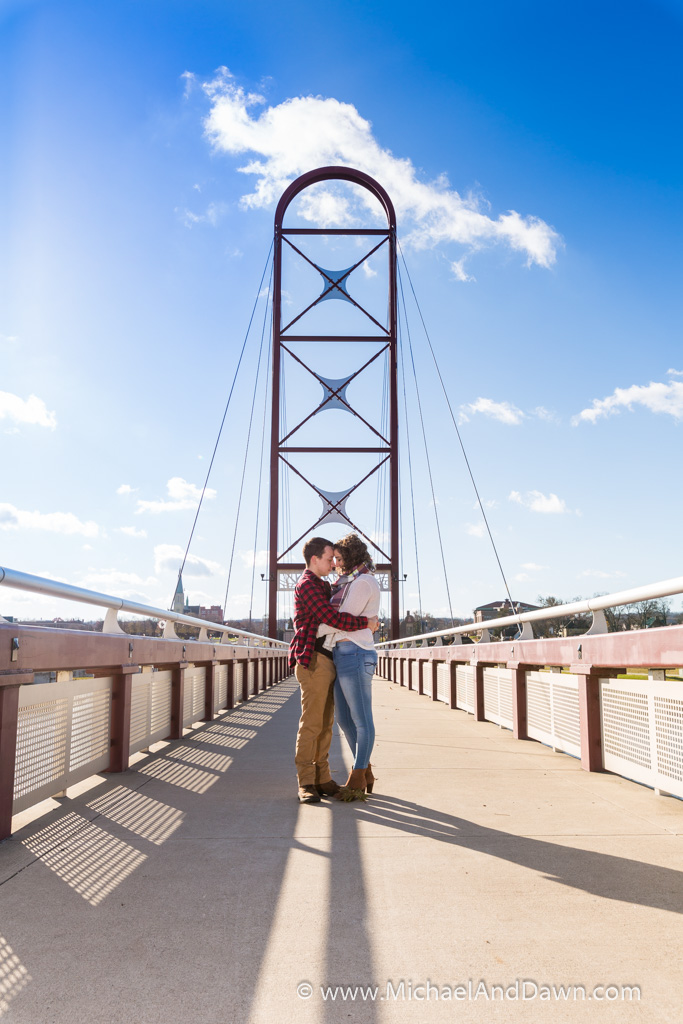picture of and engagement session on a bridge