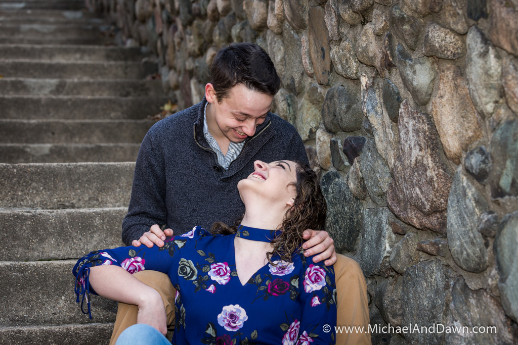 engagement picture by rocky stairs