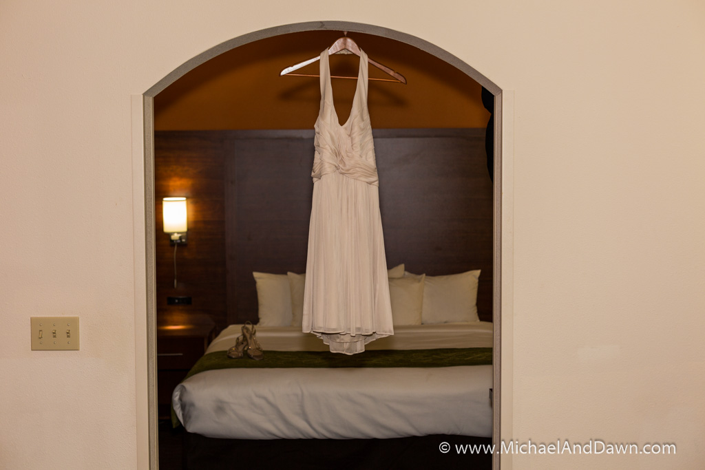 picture of a wedding dress hanging
