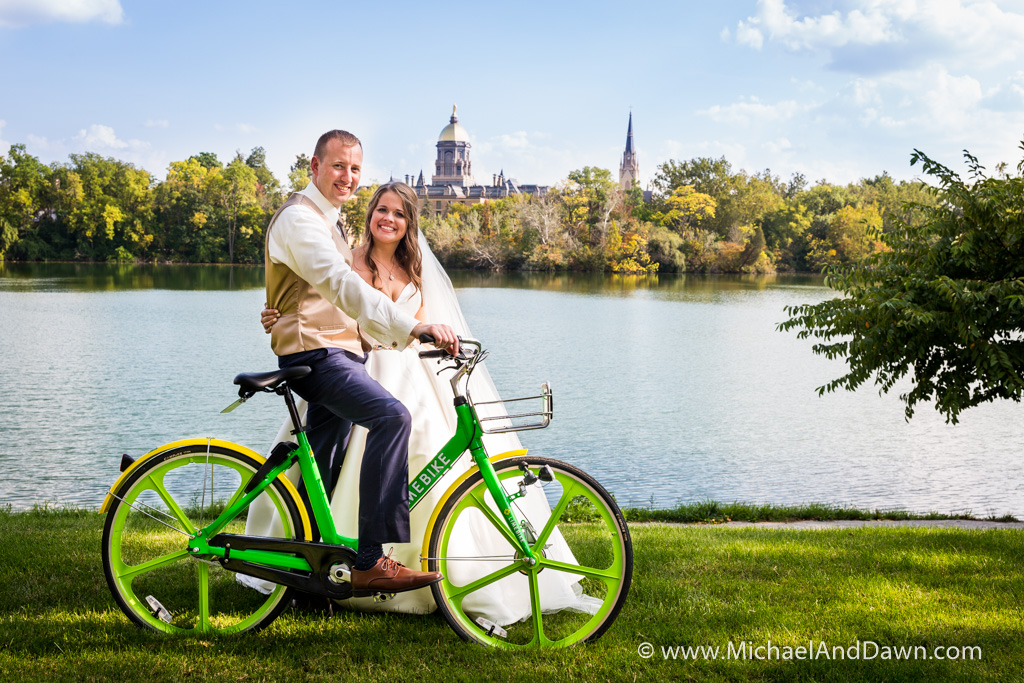picture of groom on green rental bike