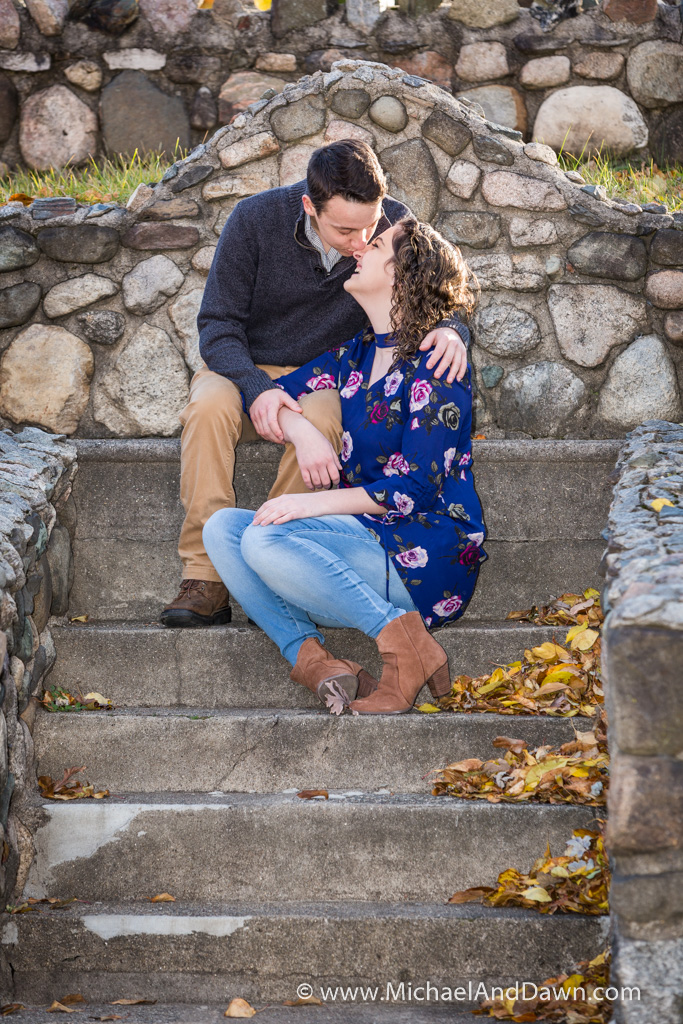 a kiss on the nose during engagement picture
