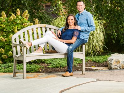 Engagement photograph on park bench