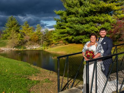 image of wedding couple and storm clouds